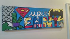 MADE TO ORDER: Personalized Canvas Wall Mural The Superheroes, Ready to Hang Fan Art.      > Batman, Spiderman, Green Lantern, Capt America,