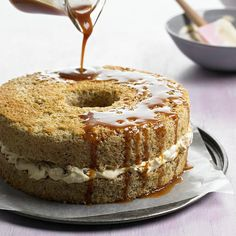Walnut Cake with Caramel Whipped Cream and Simple Caramel Sauce.