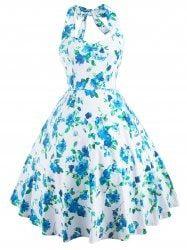Sweet Women's Halter Neck Floral Print Dress - BLUE
