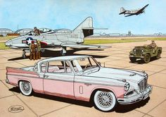 Studebaker Golden Hawk, second best Auto Illustration, Desenho Pop Art, Automobile, Ligne Claire, Car Drawings, Automotive Art, Us Cars, Aviation Art, Military Art