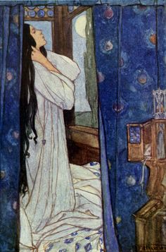 Waking she heard the night fowl crow - Emma Florence Harrison, illustration to Mariana by Tennyson