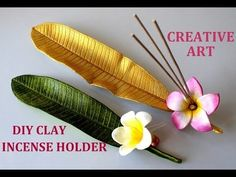 Creative Art - Hobbies paining body for kids and adult Diy Incense Holder, Clay Candle Holders, Ceramic Incense Holder, Fimo Clay, Ceramic Clay, Polymer Clay Crafts, Cold Porcelain Tutorial, Clay Flowers, Air Dry Clay