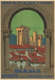 chemins de fer de paris à orléans - Blesle - Auvergne - ligne de Neussargues à Arvant -  illustration de Hallo - 1925 - France -