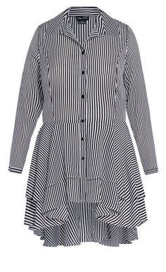 Fit & flatter your mid to hip section in a shirt with coverage that flutters over every curve. Key Features Include: - Classic shirt collar - Button down front - Long sleeve - Slim fit bodice - Lightweight unlined fabrication - Ruffled hi-lo hem Plus Size Dresses, Plus Size Outfits, City Chic Online, Stripes Fashion, Fitted Bodice, Winter Wardrobe, Collar Shirts, Black Stripes, Shirt Dress