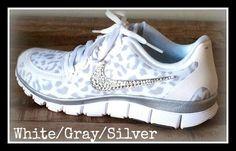 Women's Nike Free 5.0 v4 with Swarovski swoosh White/Wolf Gray/Metallic Silver on Etsy, $198.00