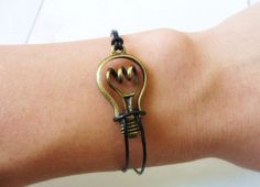 bangle vintage bracelet antique bronze bulb bracelet leather bracelet ,bulb cuff  bracelet wrist SH-0183. $3.98, via Etsy.