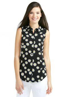 Sleeveless Ladder Back Daisy Shirt - Plus Tanks & Camisoles Cato Fashions