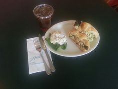 A taste of summer, Curried Chicken Salad on a croissant & Dianne's Potato salad with a free ice tea!