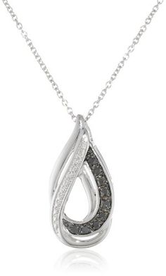 Sterling Silver 1/10cttw Black Diamond Drop Pendant Necklace, 18″ by Amazon Curated Collection http://blackdiamondgemstone.com/jewelry/necklaces/pendants/sterling-silver-110cttw-black-diamond-drop-pendant-necklace-18-com/