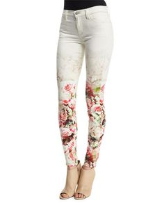 Mid-Rise+Super-Skinny+Floret+Jeans,+Floral+by+J+Brand+Jeans+at+Neiman+Marcus.