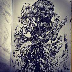 #inktober #inktober2016 #sketchbook #brushpen #ink #monster #corruption #power #teaser #faces