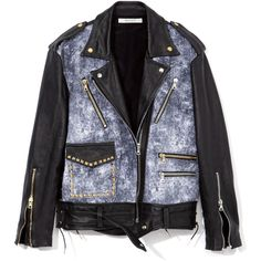 Rodarte Printed Acid Wash Multimedia Jacket ($3,749) ❤ liked on Polyvore featuring outerwear, jackets, studded jacket, studded leather jacket, oversized jacket, 100 leather jacket and asymmetrical jacket