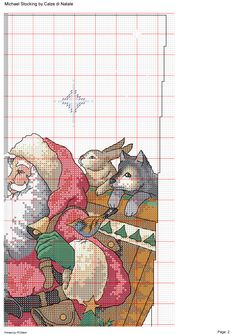 Dimensions 8667 - Santa´s animal parede 2 Santa Cross Stitch, Cross Stitch Christmas Stockings, Cross Stitch Stocking, Christmas Cross, Cross Stitch Designs, Cross Stitch Patterns, Santa Stocking, Bead Loom Patterns, Loom Beading