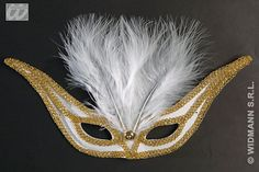The swallow eyemask is a beautiful white eyemask with an embroidered gold trim and soft white feathers. Elegant Masquerade Mask, Eye Masks, White Feathers, Swallow, Mystery, Colours, Gold, Beautiful, Jewelry