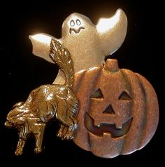 Halloween Tack Pin Jack-o-Lantern Ghost Cat Mixed Metals Copper Silver and 24 Karat Gold Plate PS081 by NostalgicCharm on Etsy