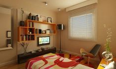 Bedroom Ideas for Young Women.    I absolutely love the orange shelf thing ...