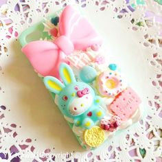 Hello kitty bunny and sweets case. Available at £15 for any case.  Bunny comes in 6 other colours  Kawaii, decoden, phonecase Available at https://www.etsy.com/shop/YYKawaii