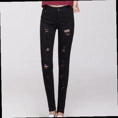 45.00$  Buy now - http://alid3v.worldwells.pw/go.php?t=32399409735 - Plus Size Stretch Skinny Jeans Woman Fashion Casual Ripped Jeans For Women Slim Fit Denim Pants With Holes Black/White 45.00$