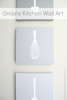 Ombre Kitchen Wall Art - cute DIY project, she has you print out stencils although I would probably just free-hand trace. Great way to get custom wall art that matches your colors.