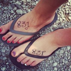 Best Friend tattoos! 831 means I LOVE YOU.. 8 letters, 3 words, 1 meaning!