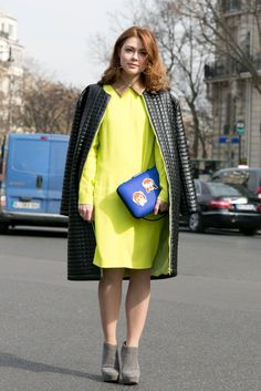 Love the safety yellow dress! Paris fashion week street style.