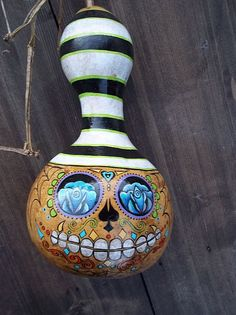 Hand Painted Gourd by lenarushing on Etsy