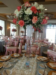 Coral gold and ivory decor & Quinceanera table Decoration Ideas. My favorite color is purple and ...