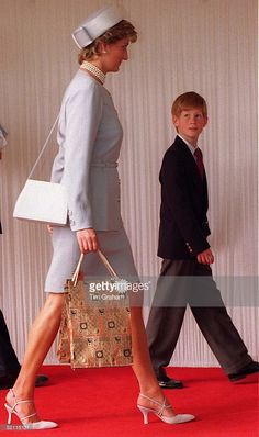 Prince Harry Walks With His Mother Princess Diana After Ve Commemorative Event In Hyde Park.