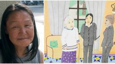 L: Annie Pootoogook in Ottawa, July 2013; R: A drawing by Annie Pootoogook of meeting then Governor-General Michaëlle Jean in 2009.