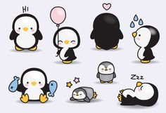 Prime Vector Clipart Kawaii pingouins par LookLookPrettyPaper                                                                                                                                                      Plus