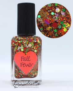 Lynnderella Limited Edition—Fall Fever is loaded with red, orange, yellow, chartreuse, green and even a few grey holographic glitters. Clear base.
