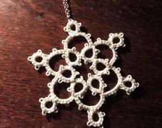 Glow in the Dark Tatted Necklace by designandmakebykate on Etsy