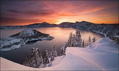 Crater Lake Winter National Park Oregon Marc Adamus Commercial Fine Art Beauty Sunset Mountains