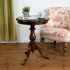 アンティーク調丸型コーヒーテーブル