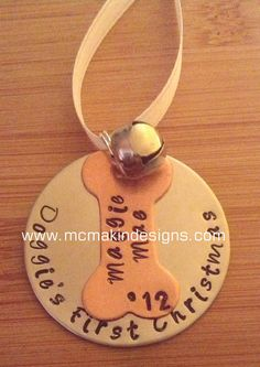 Doggie's First Christmas custom personalized hand stamped ornament - Christmas tree ornament gift holidays 2012 - dog puppy. $14.00, via Etsy.