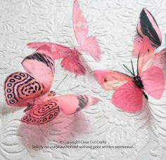 6 x Special Candy Pink 3D Butterflies great by clearcutcrafts2007, $7.00