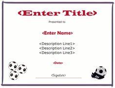 soccer certificate maker