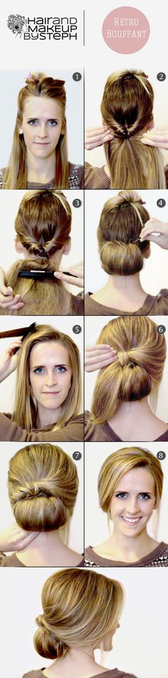 retro bouffant, bridesmaid hair, style, work hair, makeup, beauti, hairstyl, updo, chignon