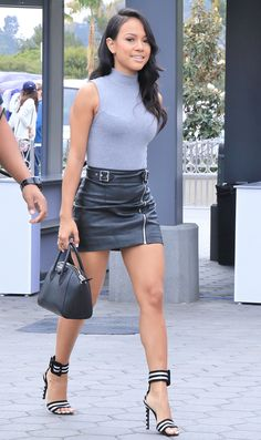 "Karrueche Tran arriving at the Universal Studios for an appearance on ""Extra"" on May 5, 2016"