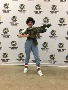 My daughter as Ripley from Aliens at Comicon. I made her the M41A/M240 combo with locator, grenade vest, grenade bandolier (both having 3D printed grenades) and here infamous 80s shoes!  Guns were built from scratch using pvc, copper pipe, sheet metals, and mostly EVA foam. Shoes were regular shoes with foam high tops.