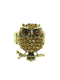 Ring Pave Crystal Stone Metal Owl Stretch Aged Finish Textured 1 1/4 Inch Tall 1 Inch Wide One Size