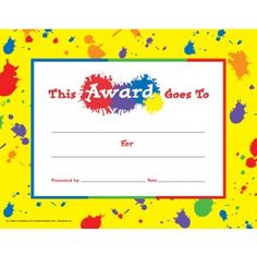 general award certificate with paint splatter 30pack downloadable templates available to personalize or - Certificate Template For Kids