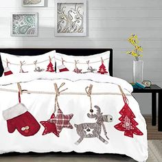 Amazon.es: edredón de navidad Merry Christmas To All, Christmas Home, Christmas Crafts, Quilt Bedding, Bedding Sets, Duvet, Christmas Bedding, Christmas Cushions, Rustic Quilts