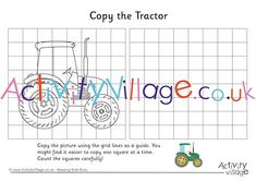Copy the tractor from the grid on the left to the grid on the right. Fun and good for observation skills too! Autumn Activities For Kids, Rainy Day Activities, Crafts For Kids, Tractor Coloring Pages, Colouring Pages, Tractor Crafts, Tractors For Kids, Activity Village, Autumn Crafts