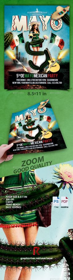 5 DE MAYO PARTY FLYERFEATURESFlyer paper size (8.5x11in).0.25 inch bleeds.CMYK @ 300 DPI ¨C Print-ready.Fully Customizable and Editable.Fully Layered PSD file.Free used font link: NEXA & bebasTHE PACKAGE INCLUDES:PSD (1 files)readme (1 files)image (all elements