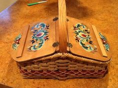 Beautiful handcrafted basket that I found at an antique store and painted with a Hallingdal design.