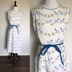 Gooses Dress | 1970s Vintage The Vested Gentress Novelty Print Sleeveless Midi Dress | Size L/XL