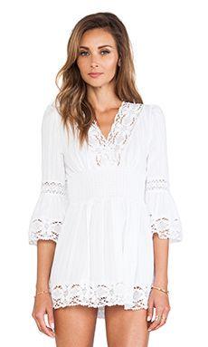 Raga Long Sleeve Boho Dress en Blanco