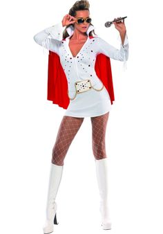 Now you can be the king with this fantastic white Elvis Costume. Pair this great costume up with our fantastic Elvis wig and glasses for a great look. From our Music Legends Costumes range. Las Vegas Kostüm, Las Vegas Party, Vegas Theme, White Costumes, Adult Costumes, Costumes For Women, Costume Elvis, Elvis Presley Halloween Costume, Disfraz Rock And Roll