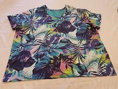 5fd28581ec2 Catherines Top Plus Size 3X Purple Tropical Floral T Shirt casual Stretch  Cotton